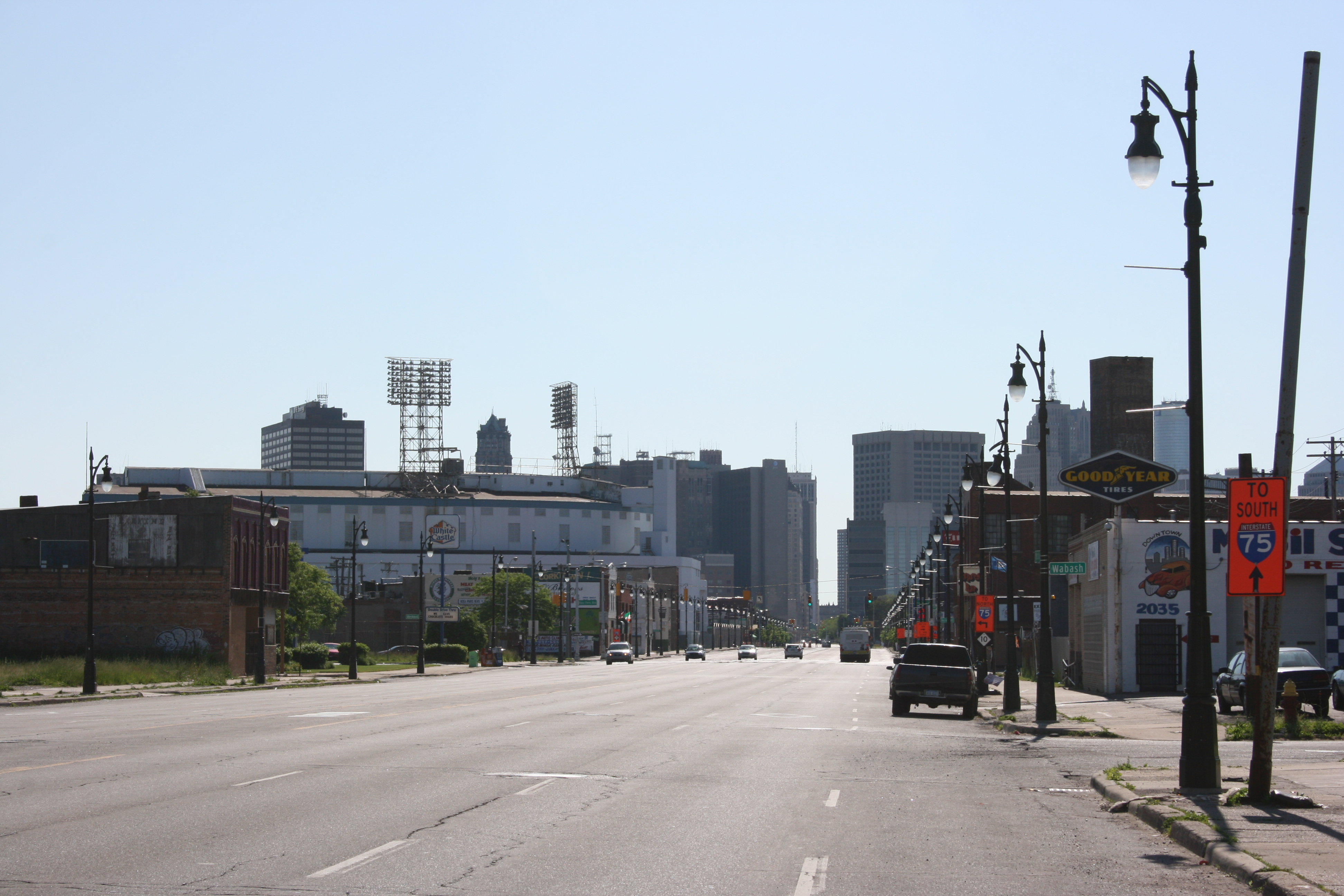 Michigan Avenue from near the station, looking east. The remains of Tiger Stadium are on the left.