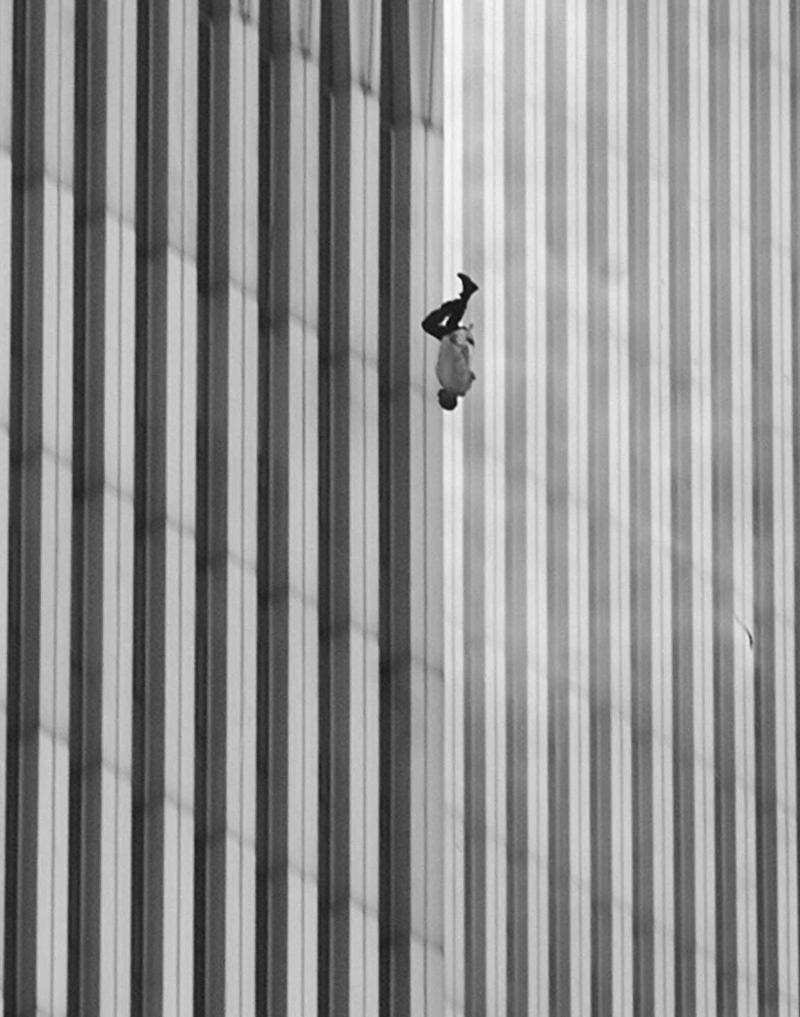A man falling from the North Tower of the World Trade Center at 9:41:15 a.m. during the September 11 attacks in New York City.
