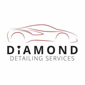 Diamond Detailing Services logo black writing and red car outline