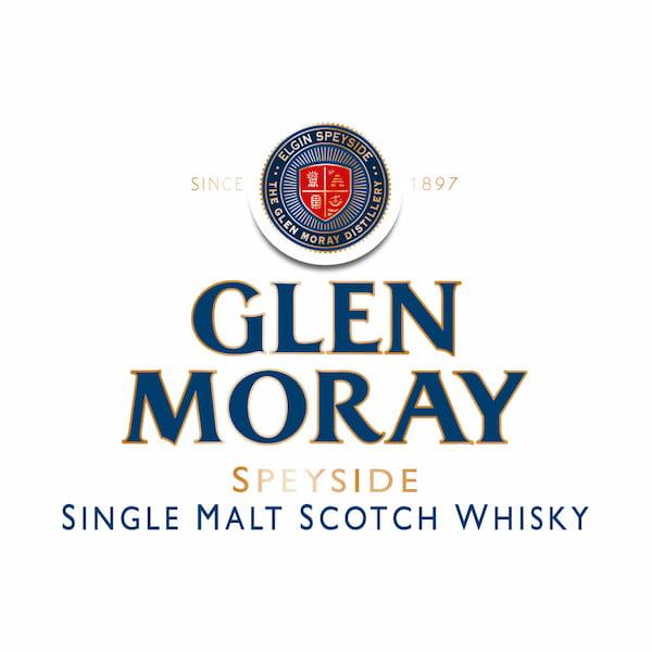 Glen Moray Whiskey Logo, gold, red and blue