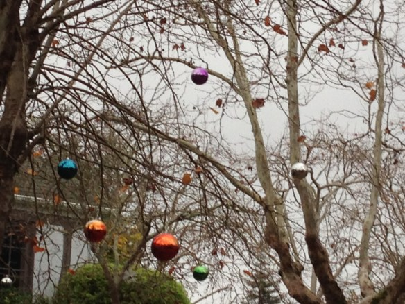Christmas balls hanging from trees