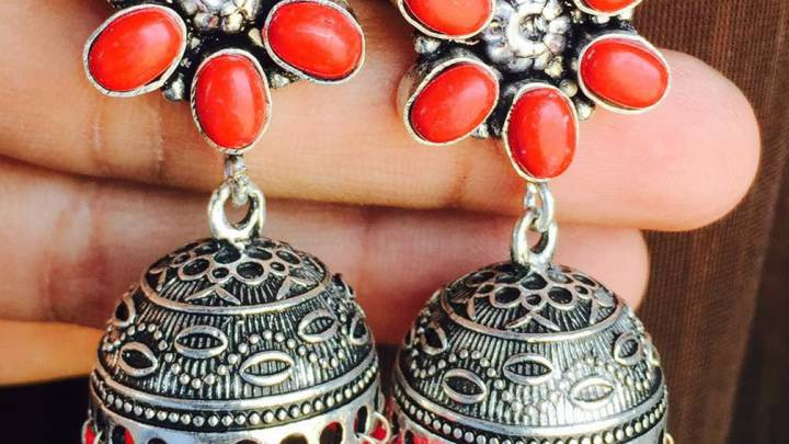 German Silver Stone Fitted Jhumka -Red