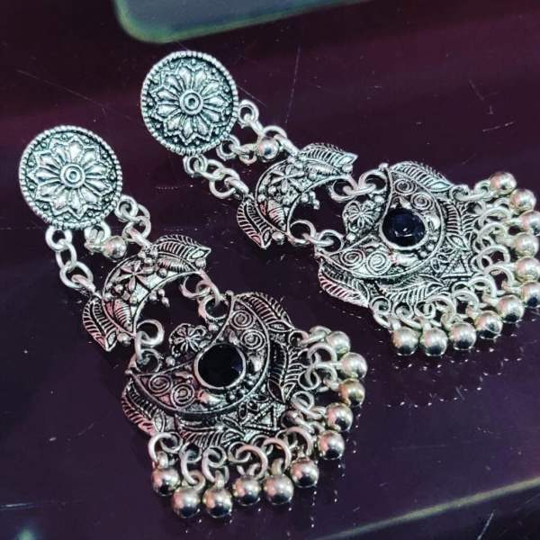 German Silver Stone fitted Jhumka - Black