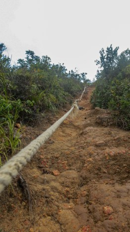 One of the many ropes set on the steeper parts of the trail.
