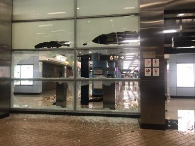 Hang Hau Station windows broken by protestors.
