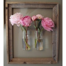 Peonies in glass glued to wooden frame