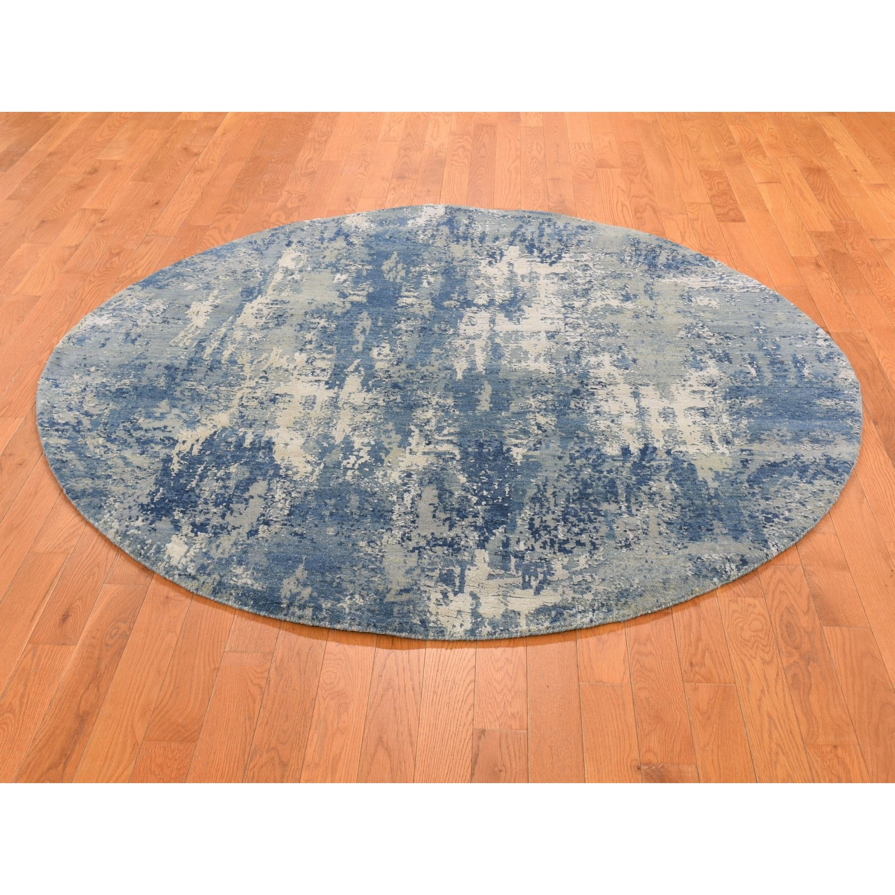 6 1 X6 1 Blue Abstract Design Wool And Pure Silk Hand Knotted Round Oriental Rug