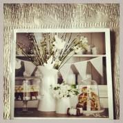 Flowers, vases, ooh white bunting.
