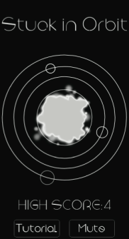 A screenshot of Bernstein's game, Stuck in Orbit