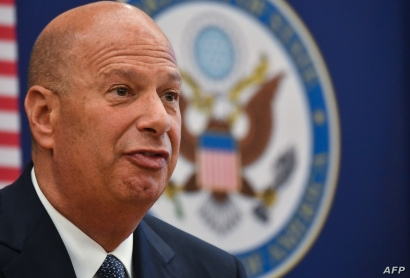 Gordon Sondland, the United States Ambassador to the European Union, adresses the media during a press conference at the US…