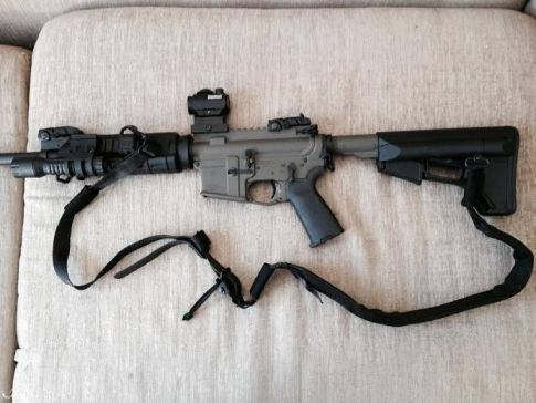 Tactical two-point sling setup, extended.