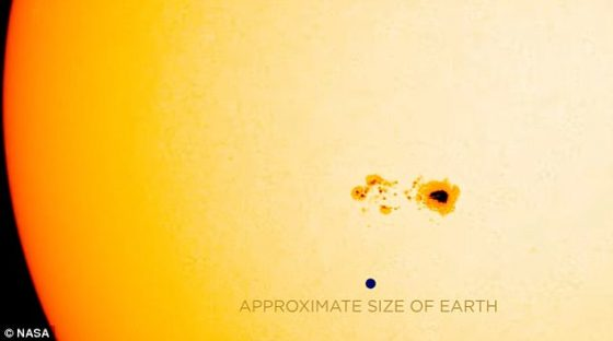 A 75,000 mile wide sunspot just appeared.