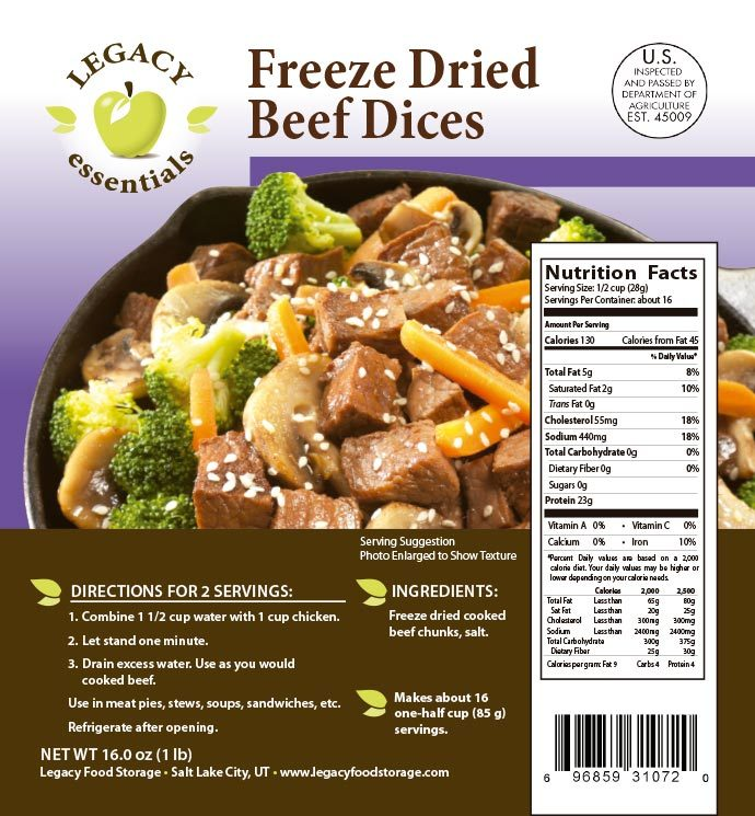USDA Freeze Dried Beef Dices