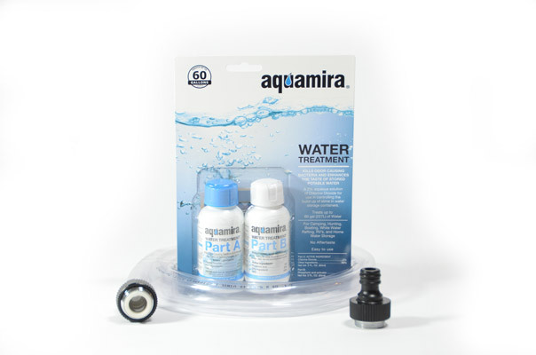 Stackable Water Storage Container Package with Fill Hose and Water Treatment