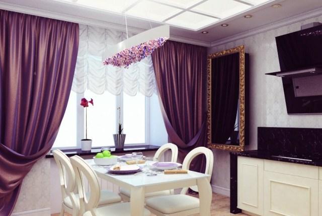 Фиолетовые шторы - дизайн