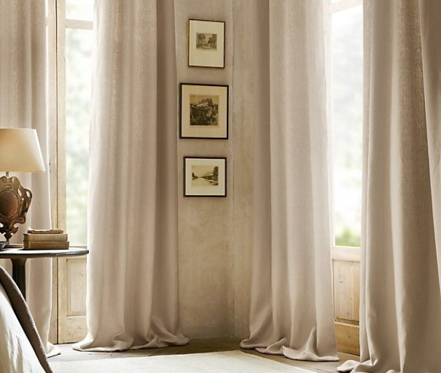 бежевые шторы лен