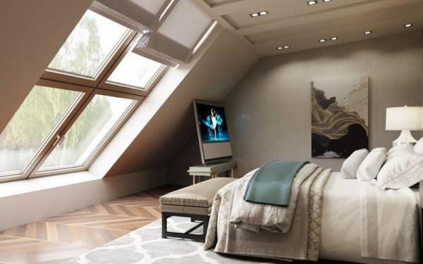Шторы на мансардные окна, в спальне со скошенным потолком фото