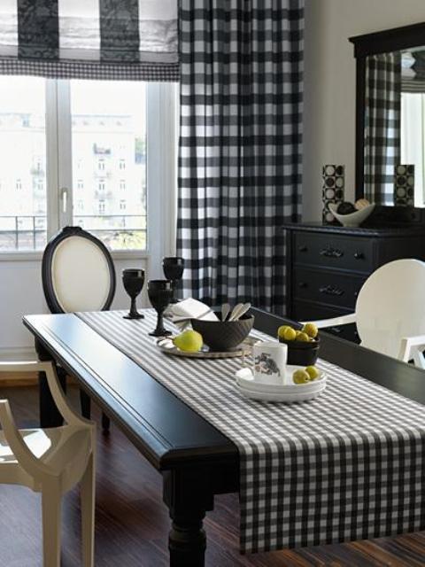 Шторы в клетку- для кухни, гостиной, спальни (фото примеры)