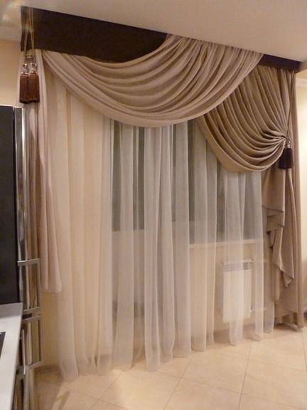 Красивые шторы в зал или гостиную - портьеры и ламбрекены ...