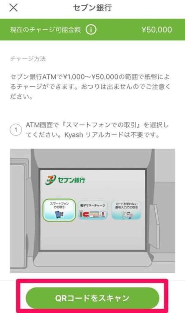 Kyash セブン銀行チャージ