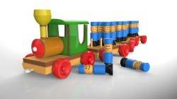 Wooden Train and soldiers