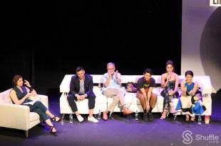 "Moderator Jessica Shaw with ""Ugly Betty"" creator and actors from left to right: Silvio Horta, Tony Plana, Mark Indelicato, Ana Ortiz, and America Ferrera. / Photo by ChinLin Pan"