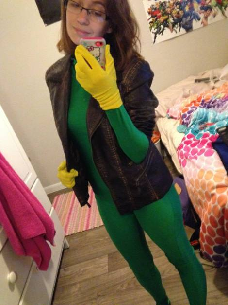 Boswell takes a selfie, donning her leather jacket, gloves, and jumpsuit for her Rogue cosplay. She is currently working on this costume. Photo by Taylor Boswell.