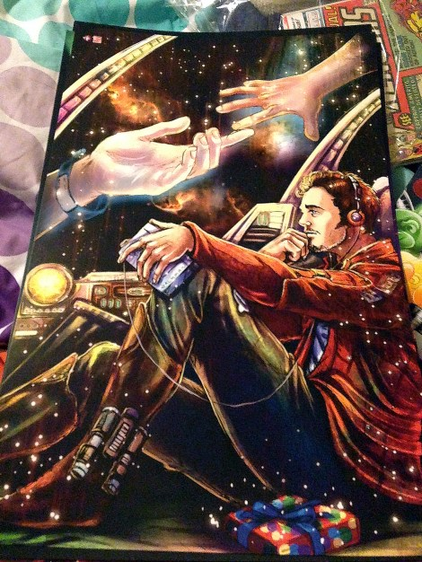 """Boswell purchased artist Jenny Wang's print of Starlord from """"Guardians of the Galaxy."""" Photo by Taylor Boswell."""