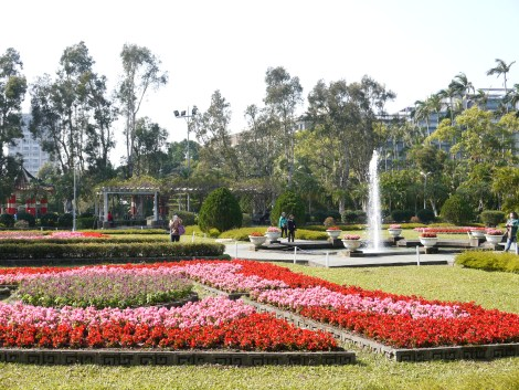 Tourists roam around the rose garden in Chiang Kai-Shek's Shilin residence park. Photo by ChinLin Pan