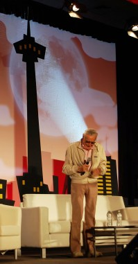 The one and only Stan Lee appears on stage for his panel. Photo by ChinLin Pan