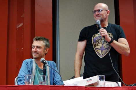 "Sean Gunn and Michael Rooker at the ""Guardians of the Galaxy"" panel"