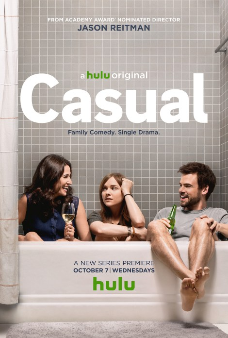 """From left to right: Michaela Watkins, Tara Lynn Bar, and Tommy Dewey star as family members in """"Casual."""" / Hulu"""