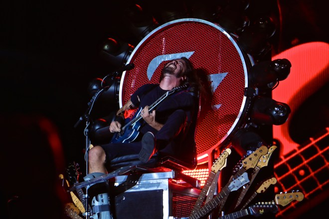 Dave Grohl playing from his rock and roll throne at Austin City Limits weekend 2. Photo by Joshua Guerra