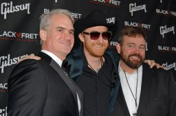 From left to right: Matt Ott (co-founder of Black Fret), Jonathan Terrell of Not In The Face, and Colin Kendrick (co-founder of Black Fret). Not in the Face is one of 10 recipients of the minor grant.