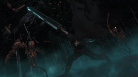 A screenshot from a trailer for Studio 4C's upcoming CG adaptation of Berserk.