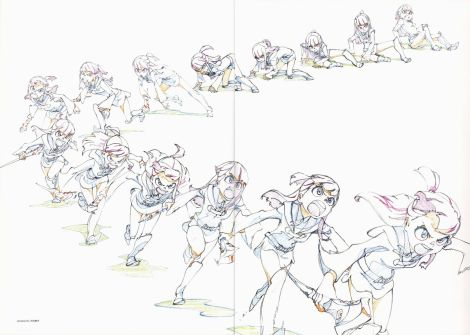 "A sample of key frames from Trigger's ""Little Witch Academia."" Source: Drawn by Shuhei Handa. Scan from an artbook included with the Little Witch Academia Blu Rays."