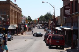 A look down the street toward the stockyards: this is what people think of when they think of Texas. / Photo by Parker Conley
