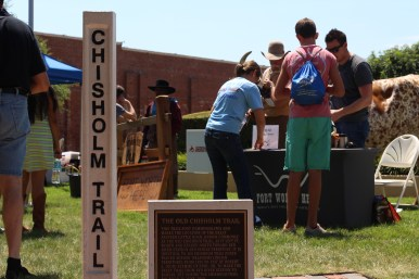 The marker of the Chihsolm Trail by the kids' area. / Photo by Parker Conley