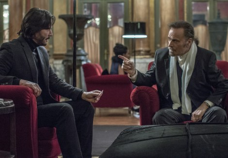 John Wick (Keanu Reeves, left) and Julius (Franco Nero, right). Photo Credit: Niko Tavernise