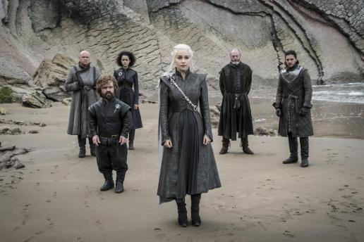 L-R Varys (Conleth Hill), Tyrion Lannister (Peter Dinklage), Missandei (Nathalie Emmanuel), Daenerys (Emilia Clarke), Ser Davos (Liam Cunningham) and Jon Snow (Kit Harington) | Photo credit: Macall B. Polay/HBO