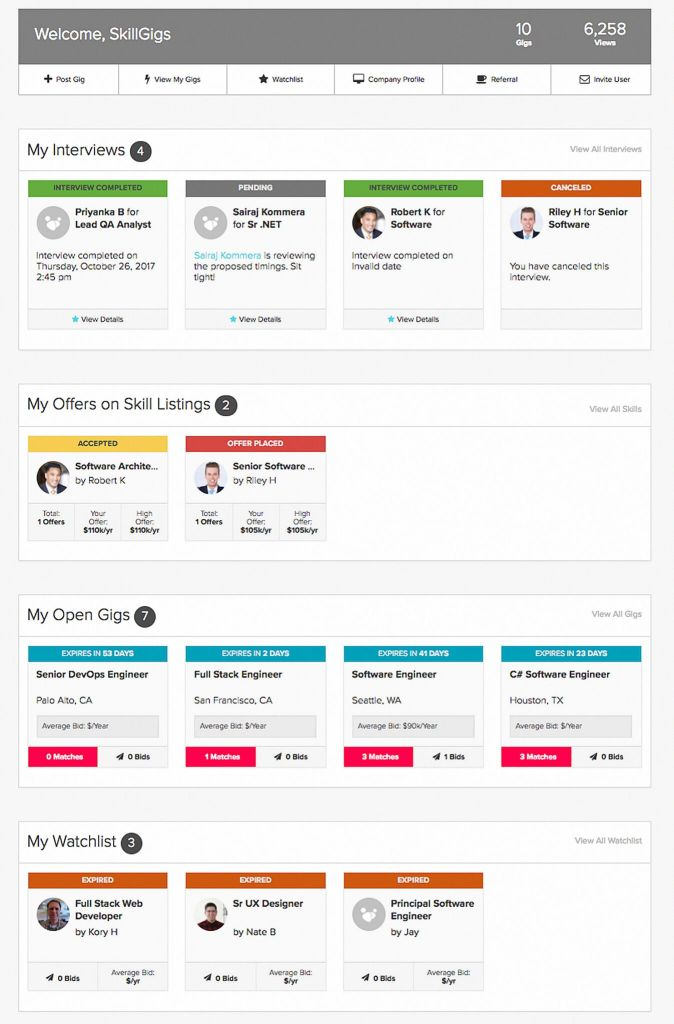 Skillgigs Employer Dashboard Preview