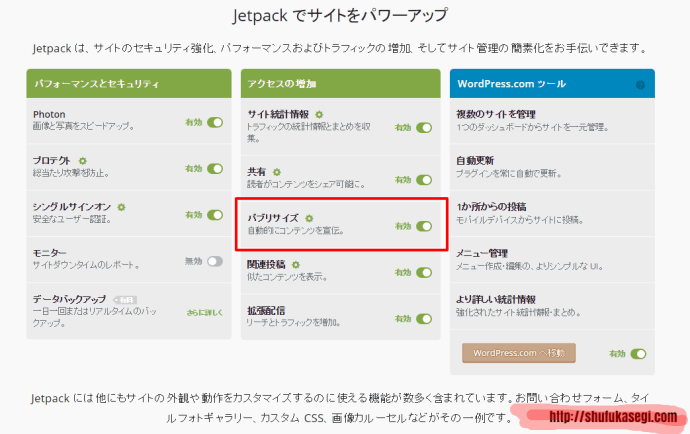 Jetpack topページ — WordPress
