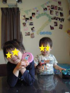 息子が2歳の誕生日飾り