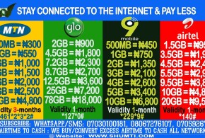 BEST DATA BUNDLES SUBSCRIPTION ON (MTN, GLO, AIRTEL & 9MOBILE)