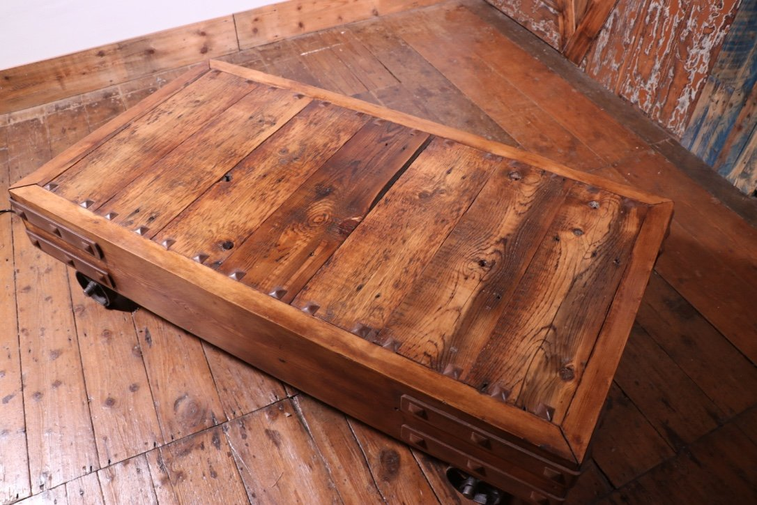 industrial cart coffee table made from reclaimed wood