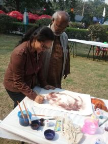 artist at work with mentor