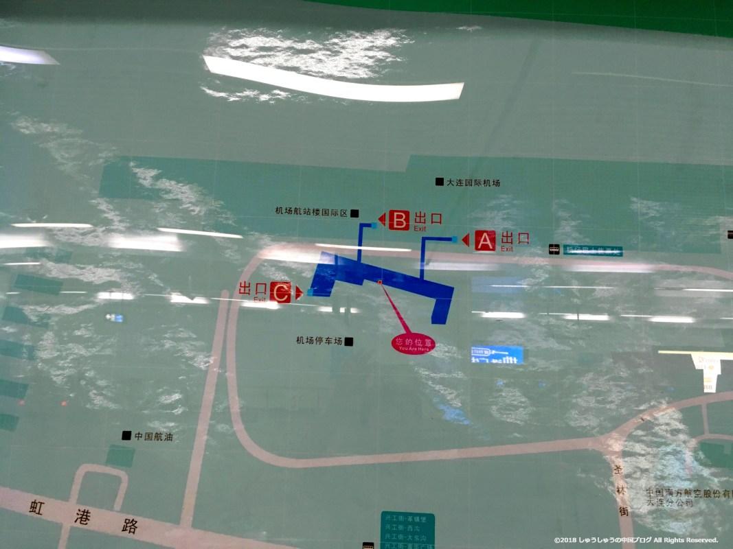 大連地下鉄「空港駅」の出口マップ