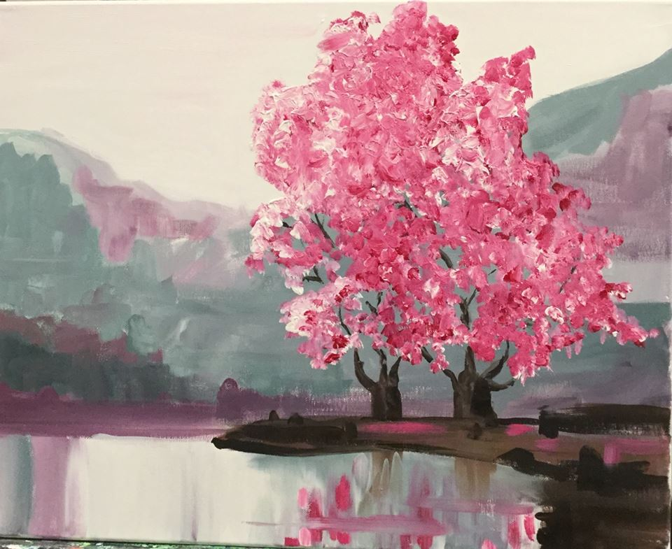 Sip and Paint Cherry Blossoms