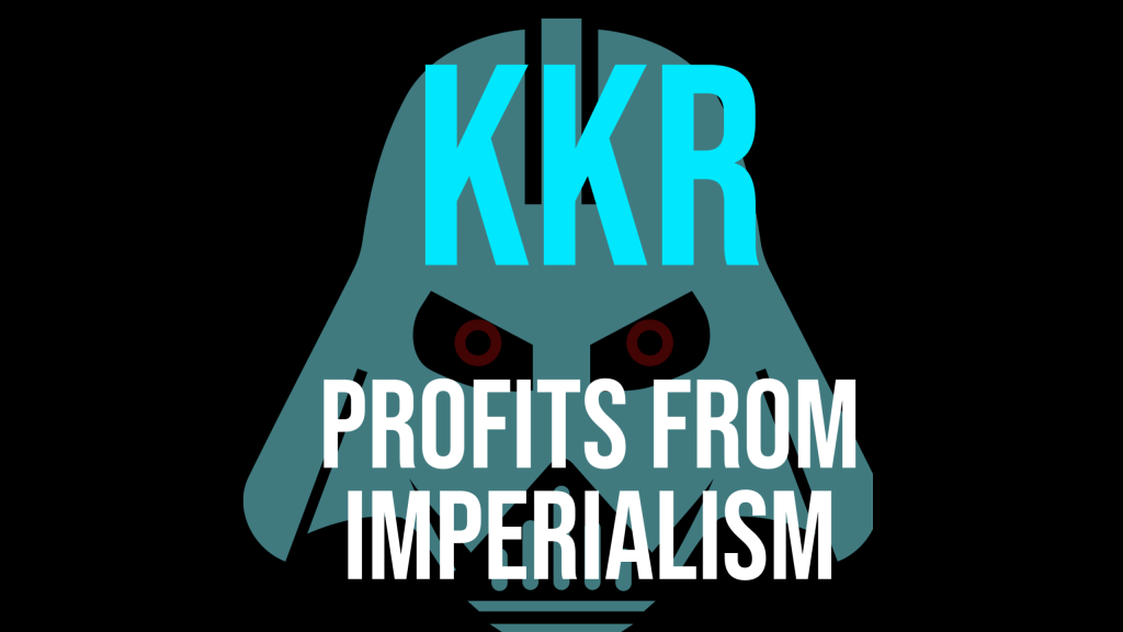 """On a black background, the words """"KKR profits from imperialism"""" in turquoise and white block letters are printed on top of a white silhouette of an army mask."""