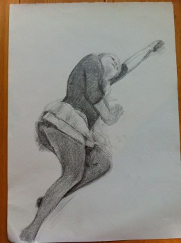A drawing from my 8th class - took 30 minutes. Woman lying on the floor.